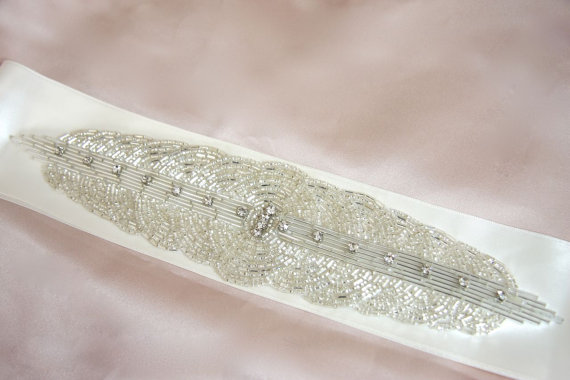 Mariage - Art Deco Wedding Dress Sash Crystal Rhinestone Bridal Dress Belt Ivory, Choose color Satin Silver Beaded Sash Belt 1920s Circles Bridal Sash