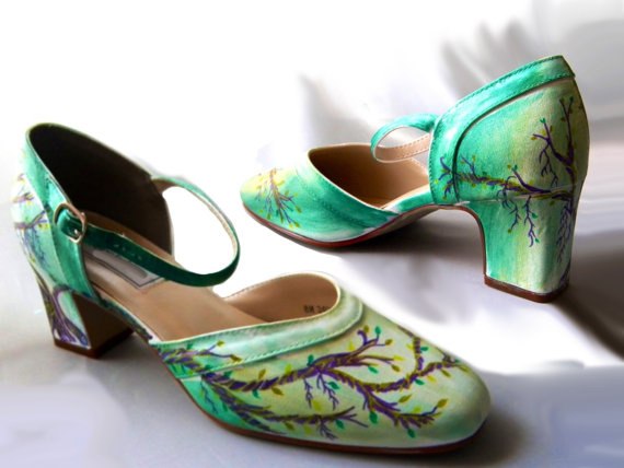 Mariage - Wedding shoes,  enchanted forest , Mary Janes shoes, green Mary Janes, enchanted forest  wedding, green bridal shoes, bridal Mary Janes