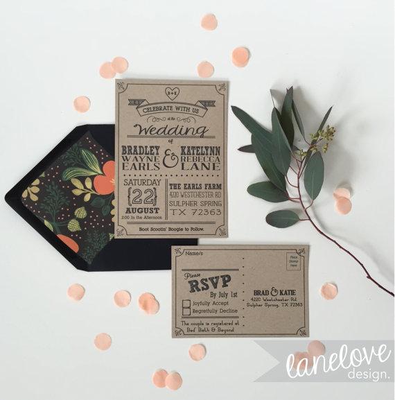 زفاف - Kraft Paper Wedding Invitation Set & RSVP Post-Cards, Modern Woodsy Rustic Wedding