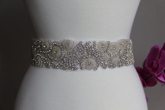 Свадьба - Elegant and gorgeous rhinestone trim, bridal sash, wedding sash, bridal belt, rhinestone belt, rhinestone sash, rhinestone applique