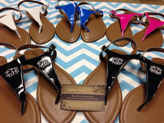 زفاف - Women's Monogrammed Sandals, Thong, T-shaped sandals, Beach Shoes, Flip Flops, Wedding Shoes, Monogrammed Wedding Shoes