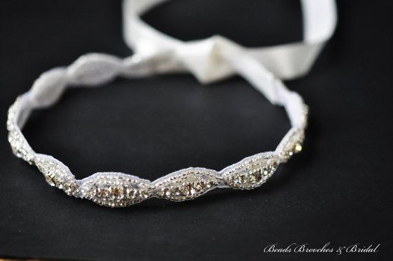 Boda - Wedding Headband, Rhinestone Trim Headband, Bridal Headband, Flower Girl Rhinestone Headband, Wedding Halo, Bridal Hair Accessory