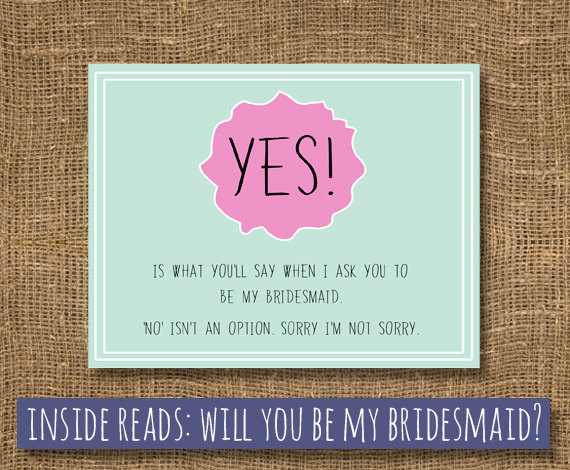 Bridesmaid Bridal Card Maid Of Honor How To Ask Will You Be My Funny Cards