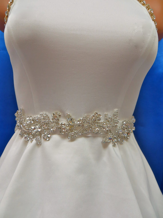 Rhinestone bridal sash wedding gown accessory bridal for Wedding dress sashes with crystals