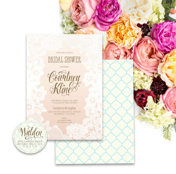 زفاف - Printable invitations - bridal shower invitation - lace Invitation - calligraphy - ombre invitation - freshmint paperie