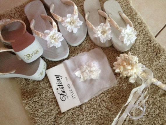 Hochzeit - Beach Wedding Bridesmaid Bouquets - 1 Seashells and Starfish and Pearls Ball