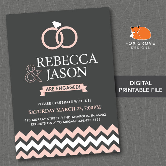 printable engagement party invitation contemporary rings