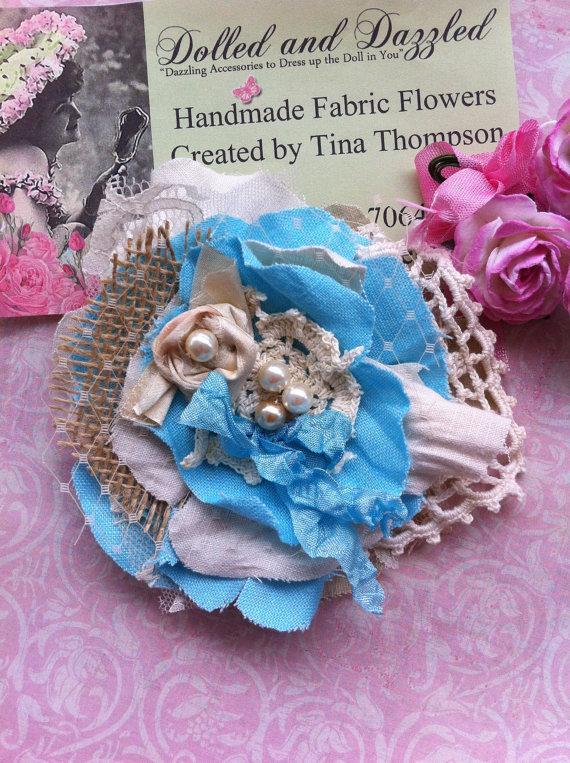 Hochzeit - Turquoise Blue/ Linen & Lace, Burlap/ Rustic Wedding Flower/ Girls Headband/ Shabby Brooch/ Dress Sash/ Girls Hairclip/ Baby Headband/ Girls