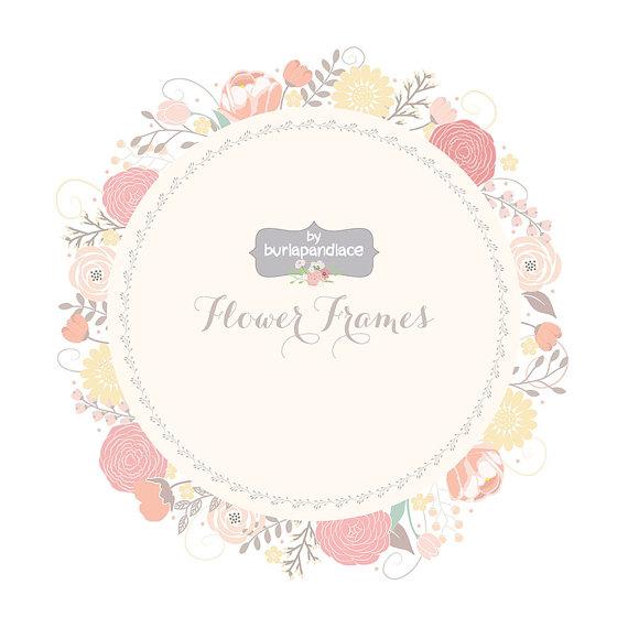 Wedding Floral Wreath Clip Art Hand Illustrated Digital Flowers Flower Frames Wedding