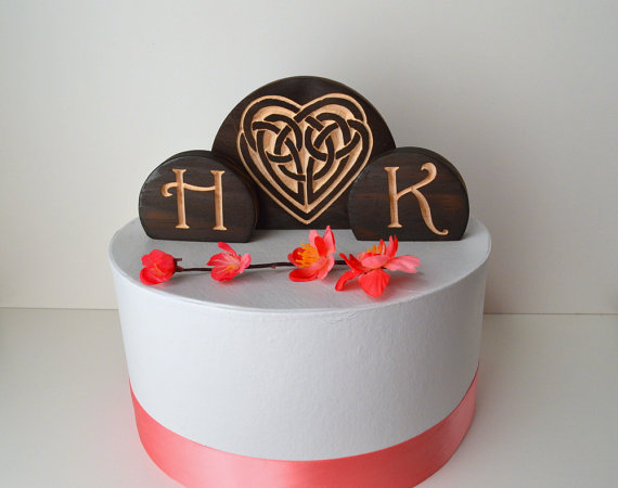 Celtic Knot Heart Burned Wood Wedding Cake Topper Set With Your