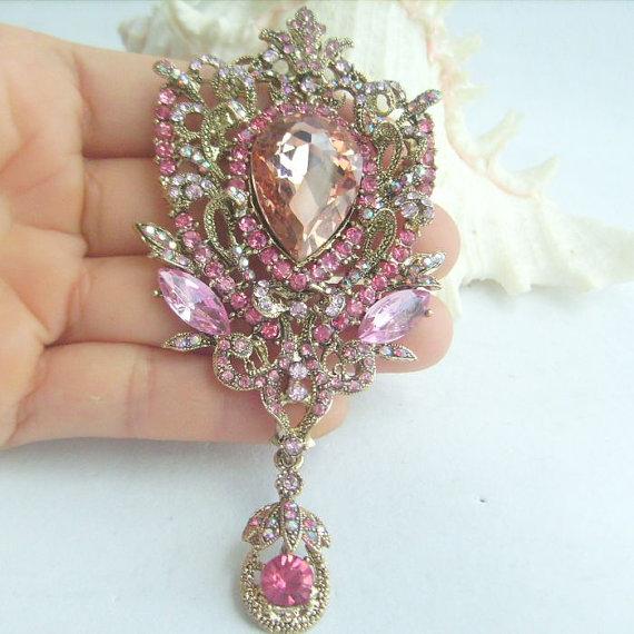 Mariage - Bridal Bouquet Wedding Deco Pink Rhinestone Crystal Dangling Flower Brooch Art Deco Crystal Sash Brooch Scarf Brooch Pin - P06450C2