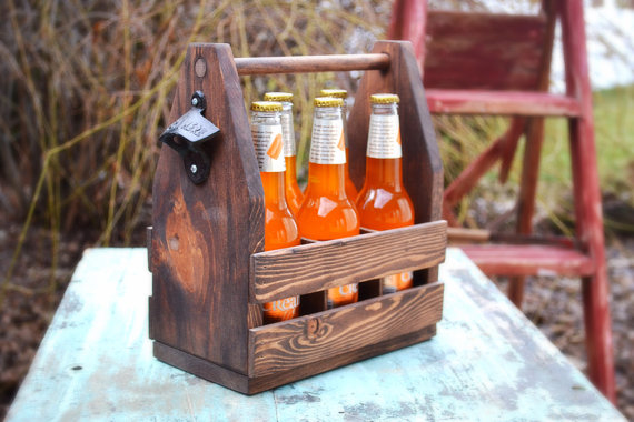 Wedding - Rustic Beer Tote, Beer Carrier,Christmas Gift, Gift for Him, Groomsmen Gift, Groomsman Gift, Reclaimed Wood, Wedding Gift