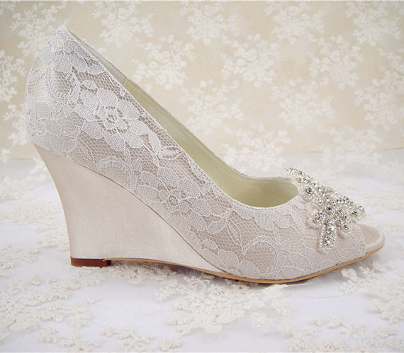 Wedding Shoes, Peeptoe Bridal Shoes, Rhinestone Wedge Shoes ...