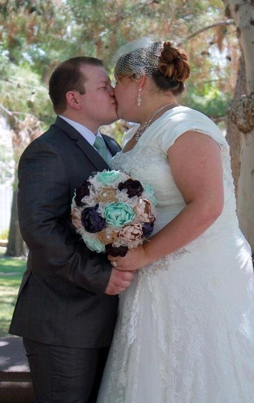 Mint, Champagne, Purple, And Burlap - Extra Large Bridal Bouquet ...