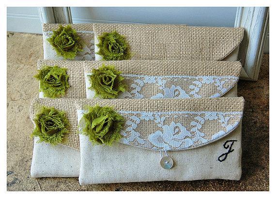 Mariage - burlap lace wedding clutch set 5 rustic bag purse Personalize Bridesmaid party cotton linen Pouch gift MakeUp