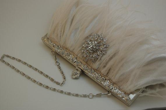 Mariage - Bridal Clutch - Ivory Bridal Handbag - Ostrich Feather Clutch - Crystal Satin Clutch Ivory Wedding Handbag Pearl Crystal Satin Flower Clutch