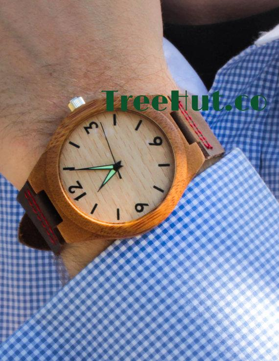 Wedding - Personalized Minimalist Engraved Wooden Watch with Genuine Leather, Mens watch, Groomsmen gift, Wood Watch Bamboo Watch HUT004