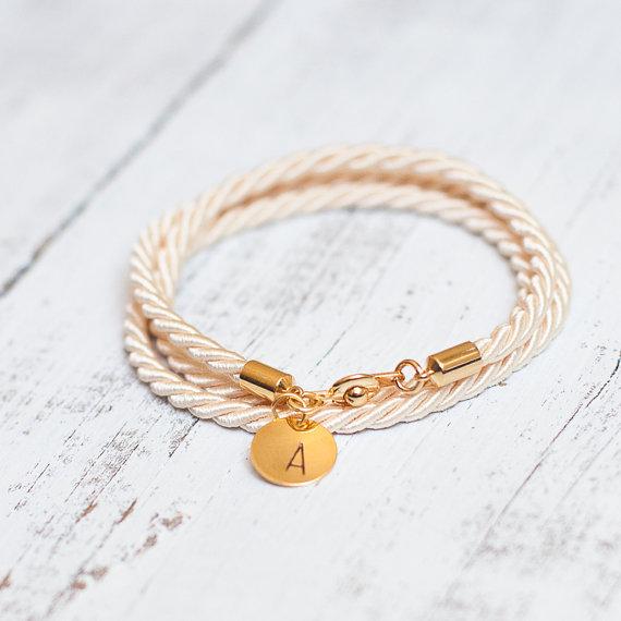 Mariage - Beige Cream rope cord Personalized Bracelet initial Monogram Gold gift jewelry bridal wedding bridesmaid gift twisted silk rope bracelet
