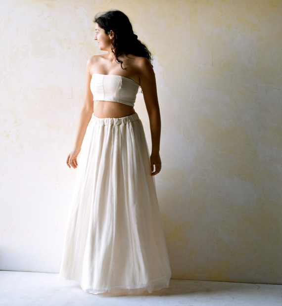 Wedding - Suit Wedding Dress, Alternative Wedding Dress, Hippie wedding dress, Bohemian strapless dress, Beach Wedding dress, Backless wedding dress