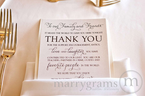Wedding Reception Thank You Card To Your Guests  To Our Friends And