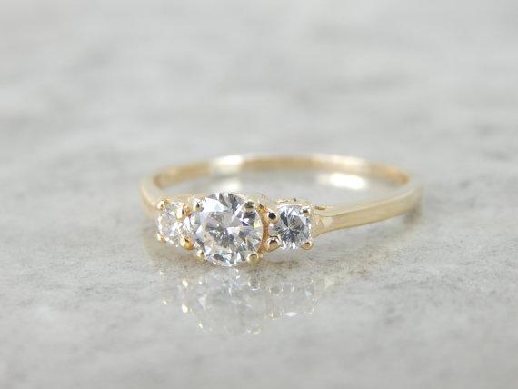 Simple Modern 14k Yellow Gold Three Stone Diamond Engagement Ring