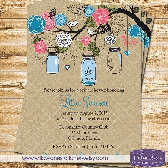 زفاف - Bridal Shower Invitation - Mason Jar Bridal Shower Invitation - Bridal Shower Invite - Pink Blue Mason Jar - Wedding - 1117 PRINTABLE
