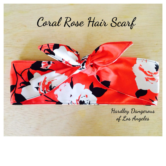 The Coral Rose Hair Scarf White Retro Floral Pin Up Rockabilly