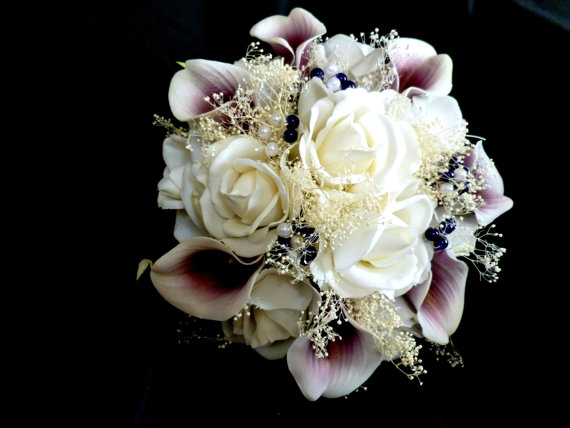 Real Touch Rose Pico Calla Lily Plum Purple And White Bridal Bouquet True Flowers