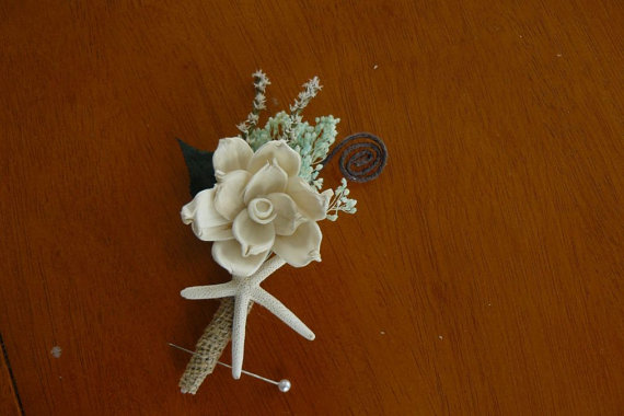 Mariage - Boutonniere, Sola mint starfish Shell Boutonniere, Starfish Boutonniere, Sola wood Boutonniere, Sola Bouquets