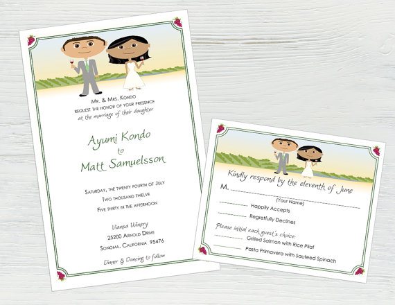 Vineyard Wedding Invitations And Rsvp Cards Wine Wedding Invitation