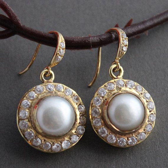 زفاف - Bridal earrings - Pearl earrings - Cz earrings - Gold earrings - Vermeil earrings - Artisan earrings - Gift for her