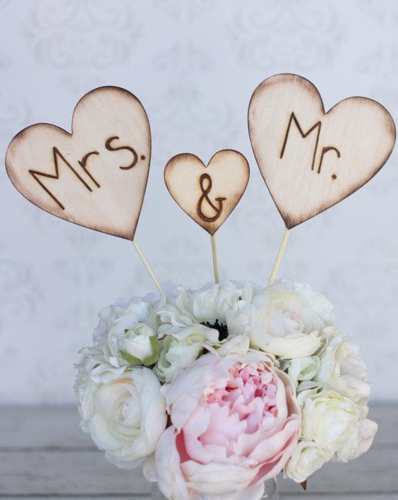 Свадьба - Rustic Wedding Cake Topper Mr and Mrs Engraved Wood Hearts (item E10635)