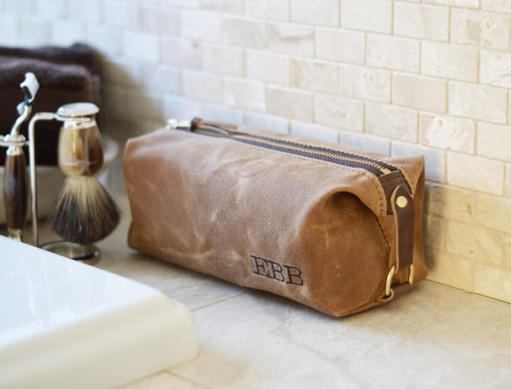 Wedding - NO. 339 Compact Dopp Kit, Men's Toiletry Bag, Groomsmen Gift, Gift for Him, Grooming Bag, Travel, Waxed Cotton Canvas and Horween Leather