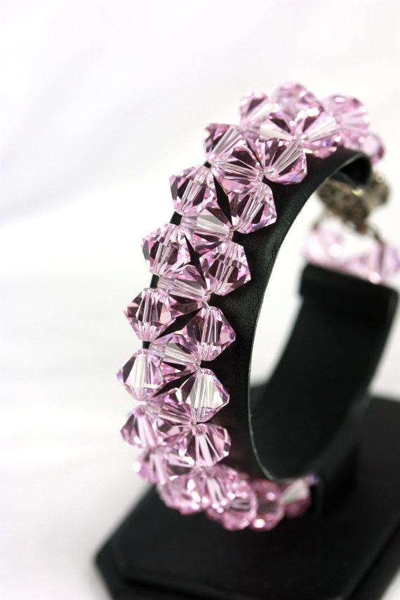 Swarovski Crystal Cuff In Light Pink, Rosaline Crystal, Pink