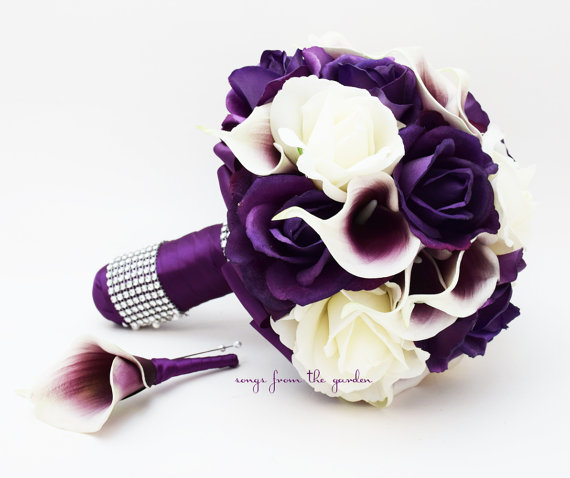 Purple & White Roses Picasso Calla Lilies Bridal Bouquet Real Touch ...