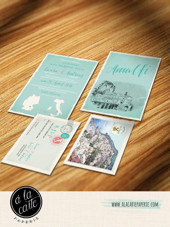 Hochzeit - Amalfi Coast Italy - Positano Wedding Invitation and RSVP card Design fee