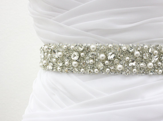 """Свадьба - Best Seller - MONACO II - 1 1/2"""" Swarovski Pearls And Rhinestones Encrusted Bridal Sash, Wedding Beaded Belt, Crystal Belt"""