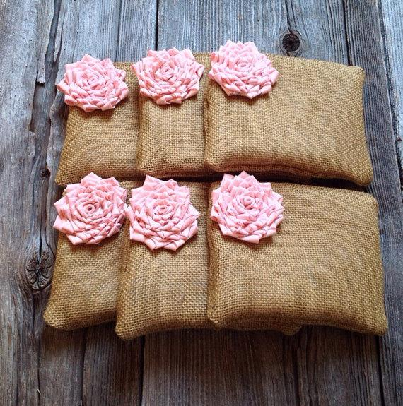 Make Your Own Wedding Gift: 6 Burlap Clutches, Create Your Own Set, Bridesmaid
