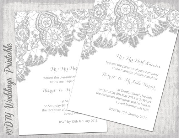 Lace Wedding Invitation Template Silver Gray On White Antique