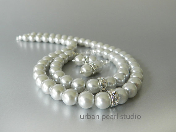 Wedding - Gray Pearl Bridesmaid Jewelry Set, Necklace Bracelet Earrings Set, Pearl Wedding Bridal Jewelry Sets