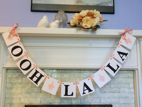Wedding - Bridal Shower / Fleur de Lis OOH LA LA Banner/ Lingerie Party / Bachelorette Party Decor / Bride to Be Banners/ You Pick the Colors