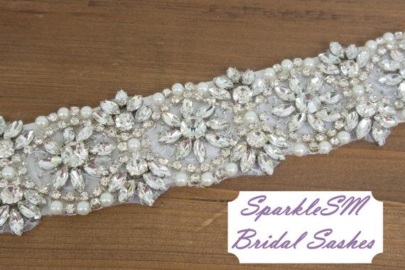 Wedding - Rhinestone Crystal Bridal Belt Sash, Wedding Sash Belt, Bridal Accessories, Crystal Belt Sash Rhinestone Bridal Sash - Leighton