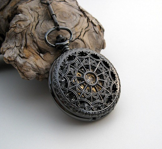 Wedding - 1882's Archaize Black Mechanical Pocket Watch with Pocket Watch Chain - Steampunk - Groomsmen - Best Man - Father of the Bride - Item MPW150