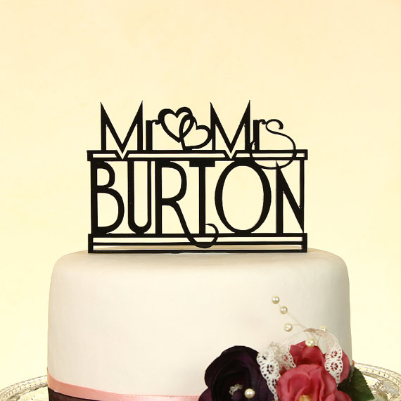"Свадьба - Mr. and Mrs. personalized ""in your name"" wedding cake topper by Distinctly Inspired (style R-1)"