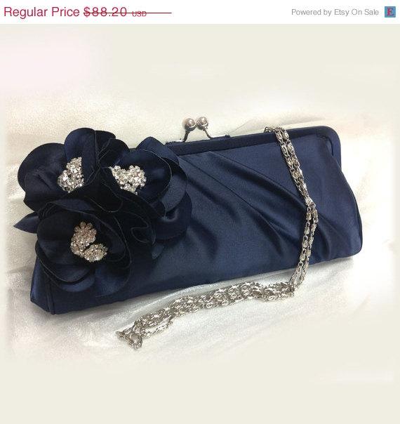 Wedding - Wedding clutch, Bridesmaid clutch, Navy blue clutch, evening bag, Bridesmaid bag, crystal clutch, flower bag