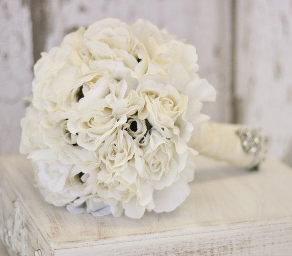 Wedding - Silk Bride Bouquet Cream and White Shabby Chic Vintage Inspired Rustic Wedding