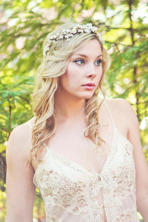 Свадьба - Flower crown, rustic head wreath, wedding headband, bridal hair, wedding crown