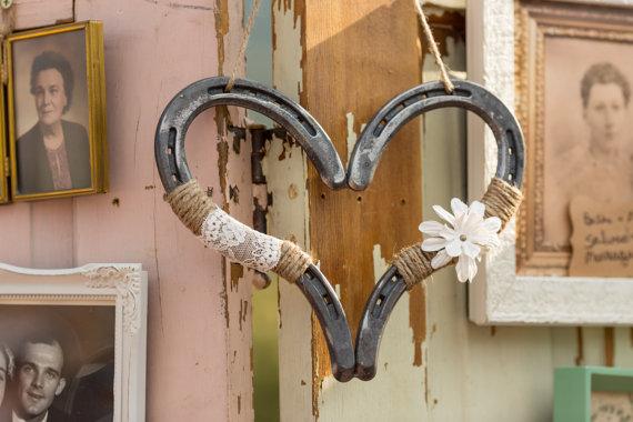 Rustic Wedding Decor Horseshoe Heart Decor Horse Shoe Decor Good