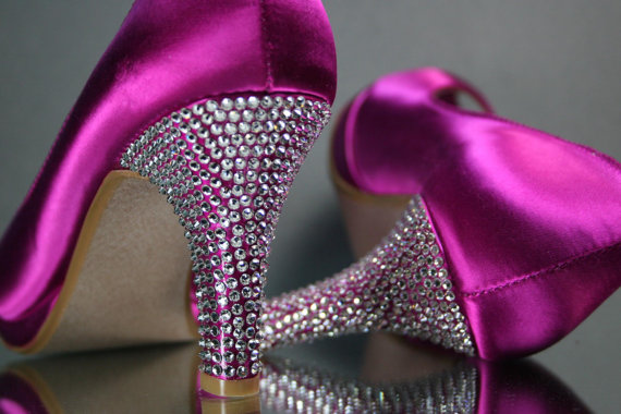 Mariage - Wedding Shoes -- Fuschia Pink Wedding Peep Toe Shoes with Silver Rhinestone Covered Heel