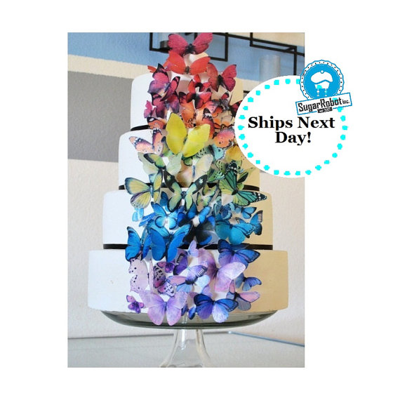 Свадьба - Wedding Cake Topper EDIBLE Butterflies for Wedding Cake Toppers- Ultimate Rainbow set of 75 -  Food Decoration - PRECUT and Ready to Use
